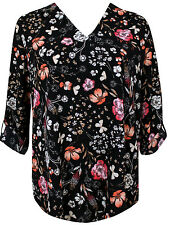 Emily for Simply Be Floral Black Pink Premium Shirt Top Plus Sizes 16 - 28