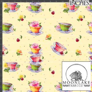 Teacup Tea Cups Fabric, 100% Quality Cotton Poplin Fabric *Exclusive*