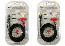 Pack of 2 Shielded 6FT. Stereo Cable RCA to 2 RCA Piggyback Gold Plated