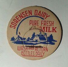 Vintage, Sorenson Dairy Pure Fresh Milk Cap, Bottle Top Dairy Advertising, Clean