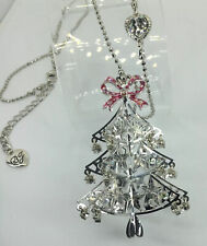 "BETSY JOHNSON RARE Christmas Tree Crystal 3D STAR Pattern Heart PInk Bow -32""N"