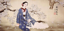 100% ORIENTAL ASIAN FAMOUS ART CHINESE FIGURE WATERCOLOR PAINTING-Beauty&Flowers
