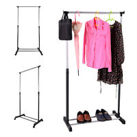 Adjustable Dress Coat Garment Hanging Clothes Rail Rack Storage Stand Castors