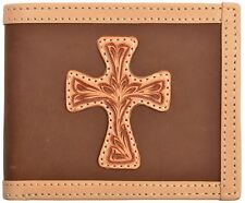 Justin Western Mens Wallet Leather Bifold Tooled Cross Overlay Brown WJB112