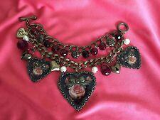 Betsey Johnson Vintage Think Of Me Victorian Rose Cameo Black Heart Bracelet
