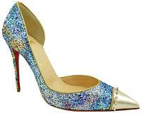 CHRISTIAN LOUBOUTIN Blue Pink Gold CULTURELLA Glitter Spike Pumps High Heels