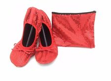 Shoes 18 Women's Foldable Sequins Ballet Flat Shoes w/ Matching Carrying Case