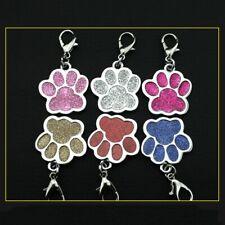 Fashion Glitter Paw Print Pet Id Tags Custom Engraved Dog Cat Tag Personalized