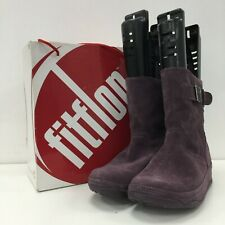 NEW FITFLOP Purple Mid Calf Boots Womens Leather Casual Size UK8 EU41 141313