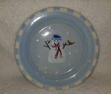 "Hartstone Pottery Snow People  8"" Dessert Salad Plate Snowman Blue Single Check"