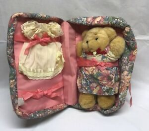 Vintage Pink Floral Teddy Bear With Carrying Case And Extra Outfit