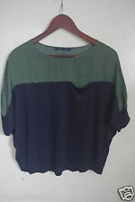KOREAN STYLE  BOXY CUT 2 FABRIC and DROPPED SLEEVE TOP SIZE SMALL TO MEDIUM