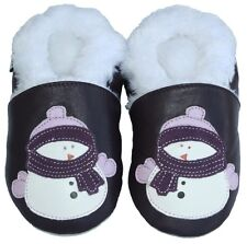 Free Shipping Littleoneshoes Soft Sole Leather Baby Infant Snowman Shoes 24-30M