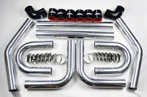"Universal High Quality 2.5"" Intercooler 8pc U Piping Kit Aluminum Blck for Honda"