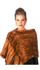 Golden Knitted Mink Fur Wrap Shawl for Women - Roses and Ruffles