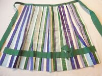 Apron Vintage 1950's Half Apron Handmade Polished Cotton Green Purple Stripe