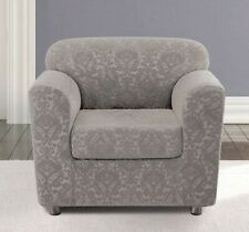 sure fit Stretch Ikat Two Piece Chair Slipcover sliver gray new