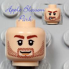 NEW Lego Light FLESH MINIFIG HEAD Dastan w/Brown Beard Stubble Moustache & Smile