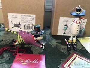 "Two Patience Brewster Krinkles Christmas Mini Santa Cat Ornaments 4"" Dept 56 EUC"