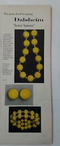1956 Dalsheim yellow jack-o'-lanterns necklace bracelet vintage jewelry ad