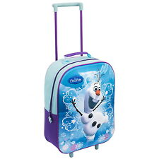 NEW OFFICIAL Disney Frozen Olaf Kids 3D Travel Bag Trolley Suitcase Wheeled Case