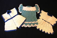 Cute! LOT OF 3 Teal - Blue / White FANCY HOTPADS Hand Crocheted Doily Dresses