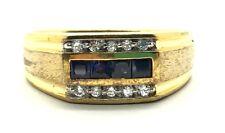 Men's Sterling Silver Gold Tone Princess Cut Blue Sapphire CZ Matte Ring Sz 10.5