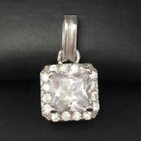 Gorgeous 2 Ct Princess Diamond Pendant SOLID 14k White Gold Charm Women Jewelry