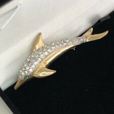 Vintage Brooch Animal Dolphin Rhinestone Paste Ocean Sea Life Wildlife
