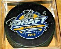 Autographed PATRIK LAINE Signed 2016 NHL DRAFT Hockey Puck Columbus COA!