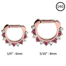 Septum Clicker Hinged Rose Gold Plated Steel Nose Ring Hoop Clear Pink CZ 14G