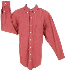 IZOD Dress Shirt Mens Size XLT Red Check Cotton Button Down Collar Long Sleeve