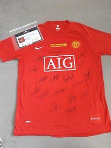 Manchester united 2008 champions league signed winners shirt .coa