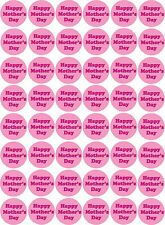 48 x Happy Mother's Day Pre Cut Cupcake Toppers Premium Sugar Icing Sheet