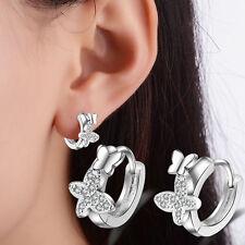 Women Lady Elegant 925 Sterling Silver Zircon Butterfly Ear Hoop Earrings