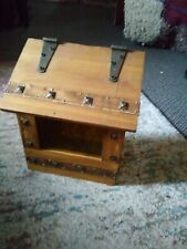 Antique arts and crafts cedar and brass mailbox