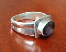 Vintage Modernist Sterling Silver & Amethyst Wide Thick Ring