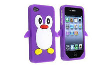Purple Penguin Silicone Case / Cover for Iphone 4 / 4S