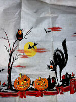"1 Rare Vintage Crepe Paper Art Halloween Black Cat Green Pumpkin Bat 20x20""in"
