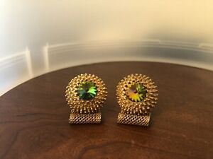 Vintage Gold Tone Green Red Cabochon Mesh Wrap Cuff links