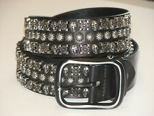 New Mens Black Leather Studded SKULLS Belt Size 44 inch 112 cm (SB125)