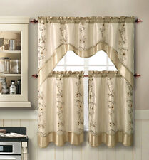 Vcny Daphne Embroidered Kitchen Curtain Set Orted Colors