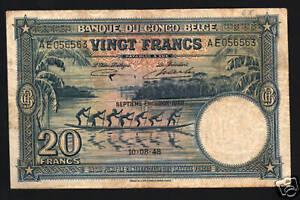 BELGIAN CONGO 20 FRANCS P-15 F 1948 BOAT ELEPHANT MONEY BILL ANIMAL BELGIUM NOTE
