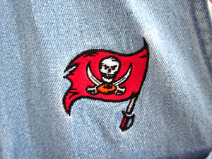TAMPA BAY BUCCANEERS sleeveless denim tank med women's embroidery pirate flag