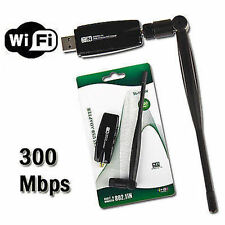 300 Mbps Wireless USB Dongle Wifi Tarjeta de red LAN adaptador PC Laptop + Antena
