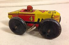 MARX MIDGET BOAT TAIL RACE CAR #4, 1930'S TIN WIND UP TOY