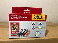 Canon 3e Black+6 Ink color  Combo Pack W/ Photo Paper 50 sheets OEM Sealed Box