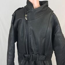 Vintage 90s Triple Fat Goose Leather Motorcycle Jacket M Black Buckle Strap Mens