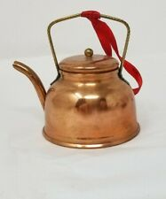 """COPPER Tea Kettle KITCHEN  Christmas Decoration Ornament Doll house 3"""" tall"""