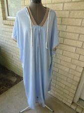vintage Neiman Marcus light blue cotton-y caftan beachy boho trim size 5 hoodie